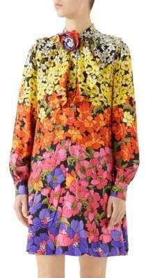 Gucci Silk Twill Flounce Dress