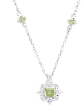 Judith Ripka Sterling Diamonique & Peridot Necklace