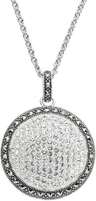 Lavish By Tjm Lavish by TJM Sterling Silver Crystal Dome Pendant Necklace