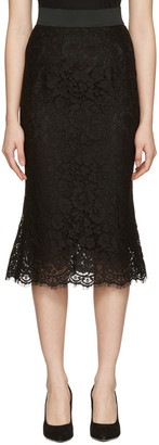 Dolce & Gabbana Black Macrame Pencil Skirt $1,395 thestylecure.com