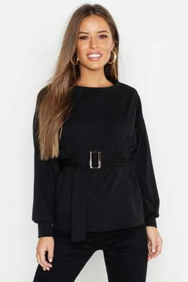 boohoo Petite Belted Sweat Top