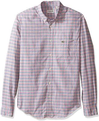 Lacoste Men's Long Sleeve Oxford Multi Color Check Woven Shirt, CH9879-51