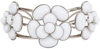 One Kings Lane Vintage Chanel White Gripoix Camellia Cuff - Vintage Lux