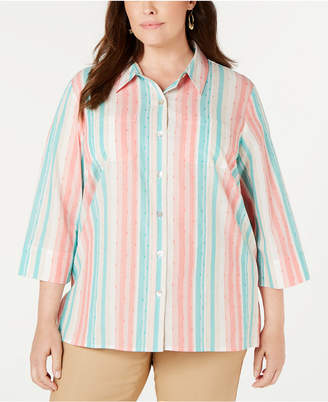 Alfred Dunner Plus Size Santa Fe Striped Textured Blouse