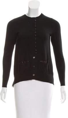 Sacai Luck Chiffon-Paneled Button-Up Cardigan