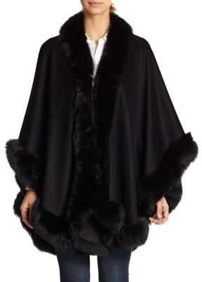 Sofia Cashmere Dyed Fox Fur-Trimmed Cashmere Wrap