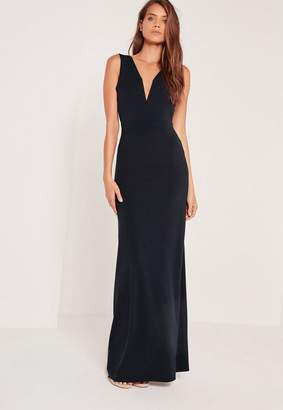Missguided V Plunge Maxi Dress Navy