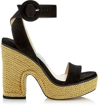 c99e5993bc Jimmy Choo AIMEE 125 Black Suede and Gold Rope Wedge