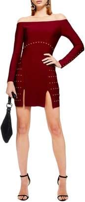 Topshop Studded Off the Shoulder Dress