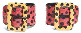 ATTICO Oversized Buckle Polka Dot Snakeskin Ankle Straps - Womens - Multi