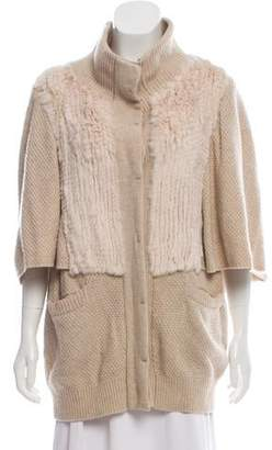 3.1 Phillip Lim Fur-Accented Wool Cardigan