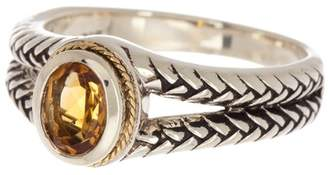 Effy Sterling Silver & 18K Gold Double Band Oval Citrine Ring - Size 7