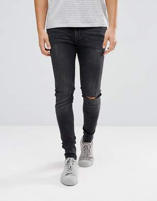 Cheap Monday Him Spray Super Skinny Jeans Used Black With Knee Rip