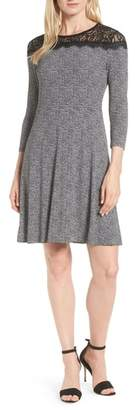 MICHAEL Michael Kors Lace Yoke Tweed Print Dress