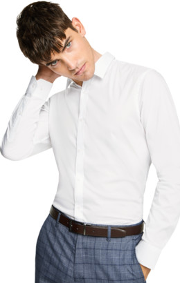 yd. WHITE PLAIN STRETCH SLIM FIT SHIRT
