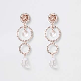 River Island Rose gold tone circle pendant drop earrings