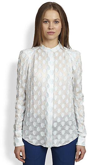 Chloé Jacquard Peaked-Shoulder Blouse