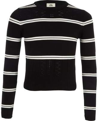 River Island Girls Black stripe fitted long sleeve jumper