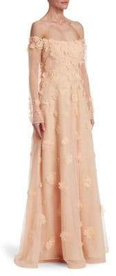 Teri Jon by Rickie Freeman Off-The-Shoulder Gown