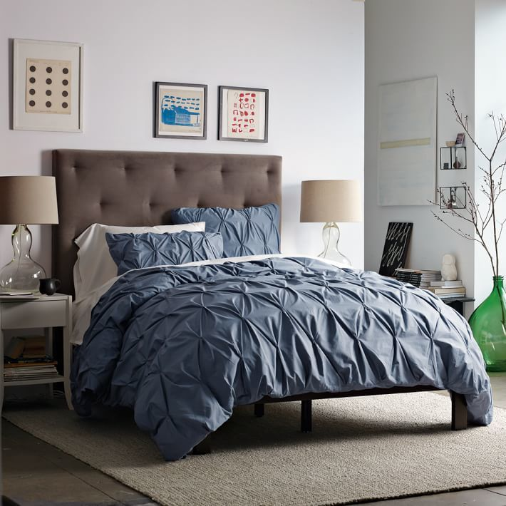 west elm Organic Cotton Pintuck Shams - Steel Blue
