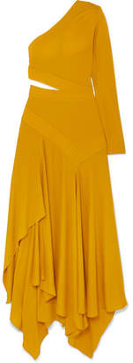 Givenchy One-shoulder Asymmetric Cutout Crepe Gown - Yellow