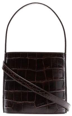 09b0cae984fc STAUD chocolate brown Bisset croc print leather bucket bag