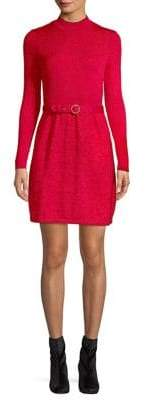 Free People Belted Long Sleeve Mini Sweater Dress
