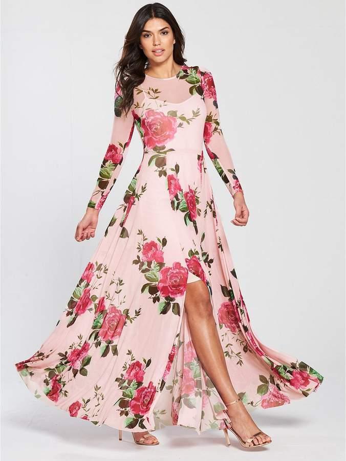 Printed Stretch Mesh Maxi Dress
