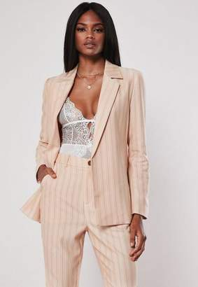Missguided Peach Stripe Co Ord Tailored Blazer, Peach