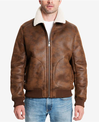 Lucky Brand Men's Faux-Leather Fleece-Lined Bomber Jacket