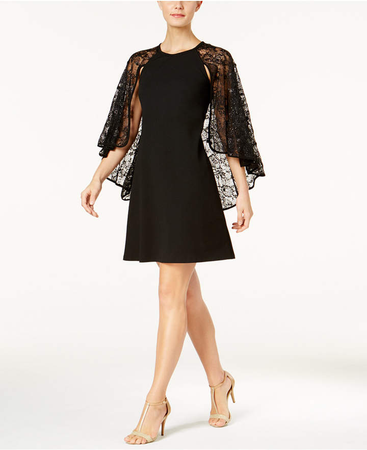 Calvin Klein Sequined Lace Capelet Dress, Regular & Petite
