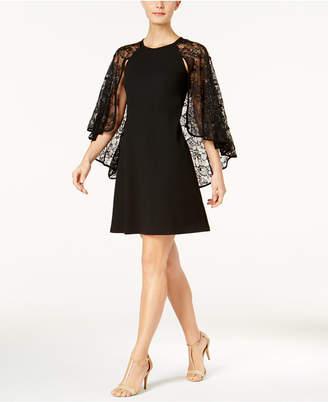 Calvin Klein Sequined Lace Capelet Dress