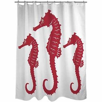 """Thumbprintz Nautical Nonsense Red White Seahorses Shower Curtain, 71"""" x 74"""""""