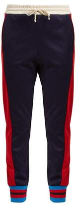 Gucci Side Striped Mid Rise Jersey Trousers - Womens - Blue Multi