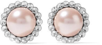 Silver-tone, Crystal And Faux Pearl Clip Earrings - Pink