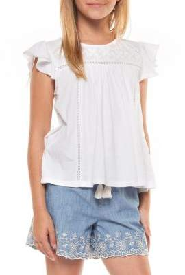 Dex Girl's Embroidered Cap-Sleeve Top