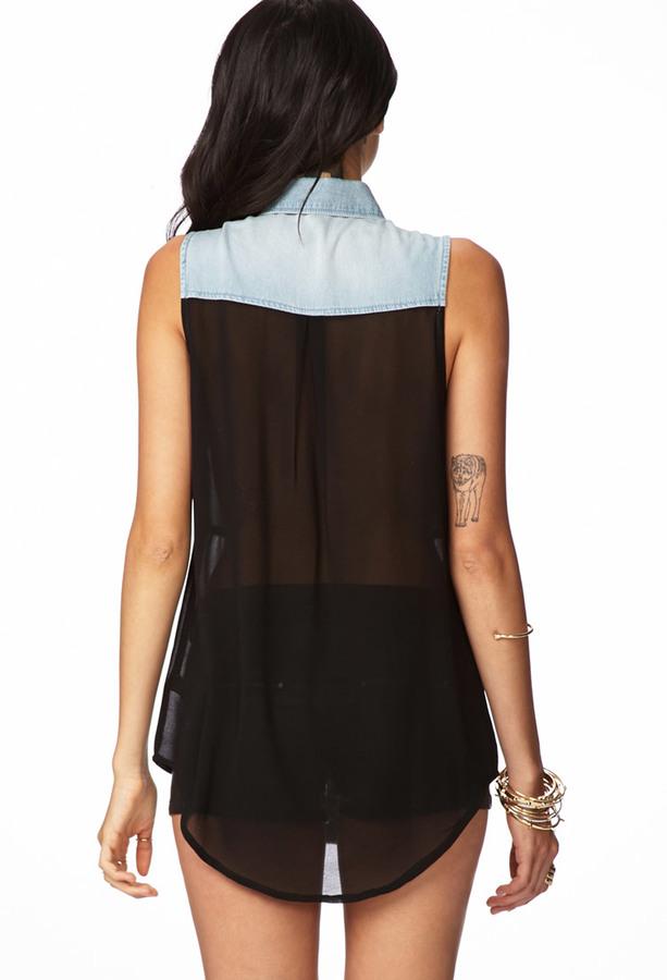 LOVE21 LOVE 21 Life In Progress™ Denim & Chiffon Shirt