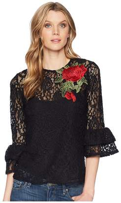 Scully Kathe Lace Top w/ Tank and Rose Applique Women's Clothing