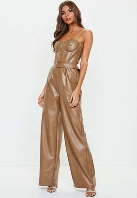 Missguided Brown Faux Leather Cupped Romper