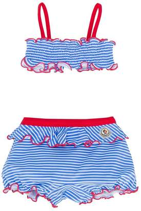 Moncler striped ruffle bikini