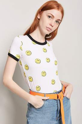 Forever 21 Happy Face Graphic Ringer Tee