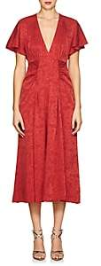 Masscob Women's Mila Silk-Blend Jacquard V-Neck Dress - Red