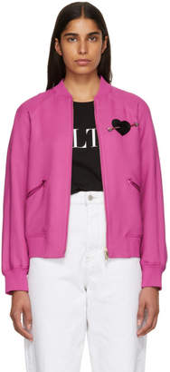 Valentino Pink Heart Beaded Embroidered Bomber Jacket