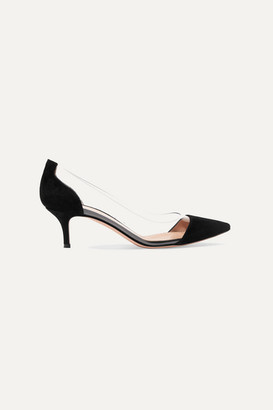 Gianvito Rossi Plexi 55 Suede And Pvc Pumps - Black
