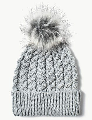 e9364bc8b72 M S CollectionMarks and Spencer Faux Fur Bobble Beanie Hat