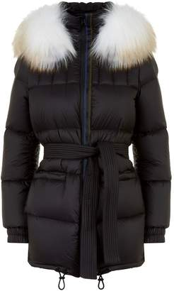 Mr & Mrs Italy Belted Fur Trim Down Coat