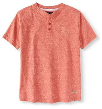Beverly Hills Polo Club Boys Melange Henley Shirt With Rounded Bottom