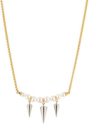 Majorica Pearly Spike Pendant Necklace, Silvertone