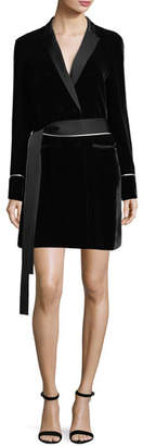 Jason Wu GREY X Diane Kruger Tie-Waist Velvet Tuxedo Shirtdress