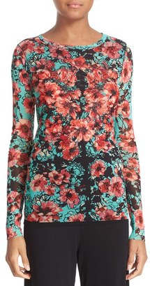Women's Fuzzi Embroidered Floral Print Tulle Top $485 thestylecure.com